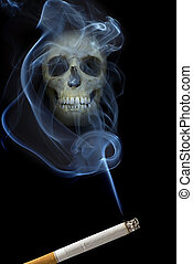 scull in smoke - human scull appears in cigarette smoke