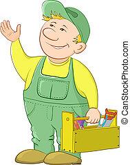 hombre, trabajador, caja de herramientas