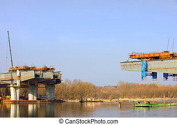 River Bridge Construction Site - Construction site of the...