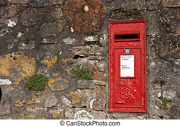 Old red letter box - An old red letter box embedded into a...