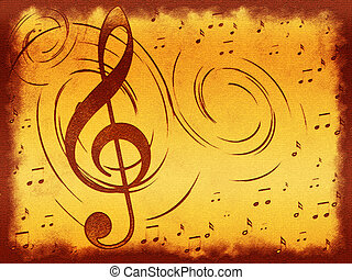 Treble clef on the old background - Treble clef on the old...