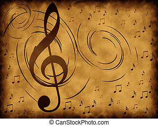 Treble clef on the old background