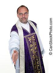Friendly Catholic priest