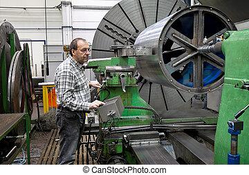 más viejo, trabajadores, metal, industria, CNC, Se...