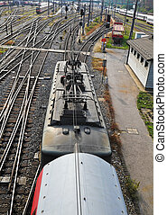 Train of the ÖBB - A railroad train with electrical...
