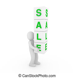 3d sale cube red white human