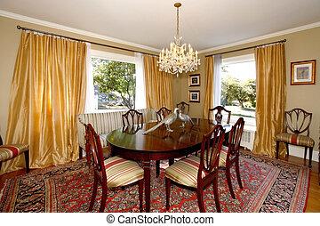 dîner, salle, jaune, rideaux, vert, murs
