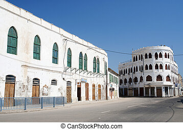 city center of massawa eritrea - city center street in...