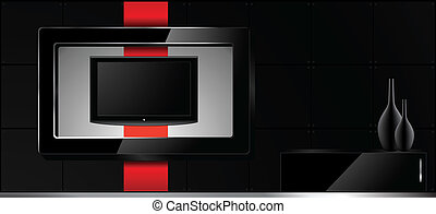 Home Interior - Vector Illustration - Home Interior - LCD tv...