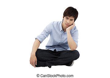 transtorne, jovem, homem, sentando, chão