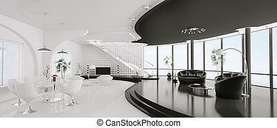 Interior of modern apartment panorama 3d render - Interior...