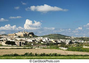 victoria town in gozo island malta - view of victoria town...