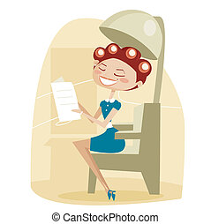 Retro cartoon woman, at the hair salon,  illustration