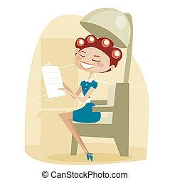 retro, caricatura, mulher, cabelo, salão