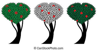 set of apple trees - set of the vector stylized apple trees