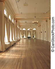 Ballroom in sunlight with grand piano