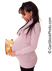 Beautiful pregnant young African American woman