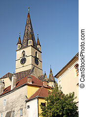 church spire in sighisoara romania