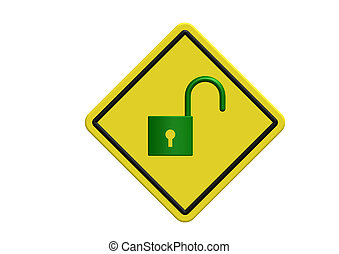 Unlock logo on yellow board