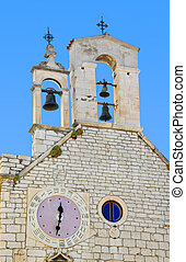 Bell tower with clock, Church of St. Barbara at Sibenik, Croatia