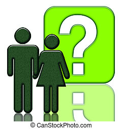 People and question mark - Man and woman close with a...