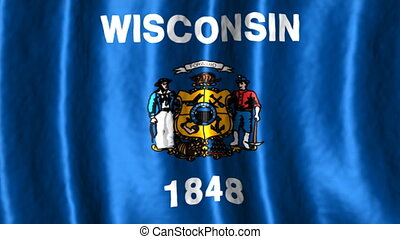 Wisconsin State Flag Looping Animated Background