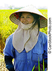 Portrait of a female peasant Viet - This woman works in the...