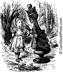 The Red Queen chastises Alice - Through the Looking Glass and what Alice Found There original book engraving
