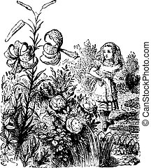 Alice in the Garden of Live Flowers - Through the Looking...