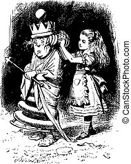 Alice gets the White Queen's Hair in Order - Through the Looking Glass and what Alice Found There original book engraving