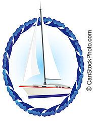 Yacht - Sailing yacht with her in the frame of the sea...