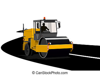 Asphalting of roads - Road construction machinery during...