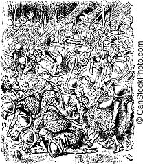 he Soldiers Fill the Whole Forest - Through the Looking Glass and what Alice Found There original book engraving
