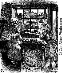 Alice and the Knitting Sheep - Through the Looking Glass and what Alice Found There original book engraving