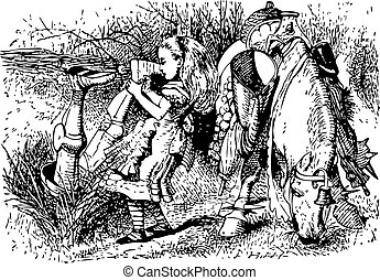 Alice Helps the White Knight - Through the Looking Glass and what Alice Found There original book engraving
