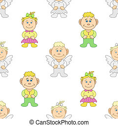 Boy and girl angels - Vector seamless background, children's...