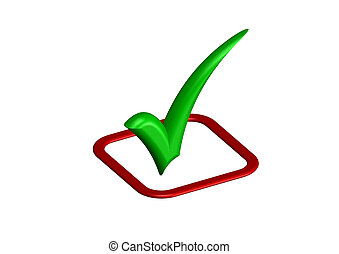Green check mark with red box