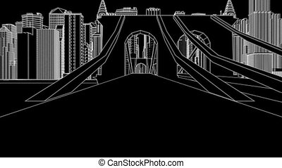 city sketch ink - abstract architectural background
