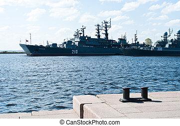 Russian warships in Kronstadt,St-Petersburg