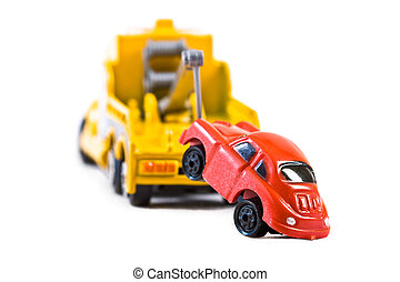 Car behind trowtruck 2 - Red car being towed away by yellow...