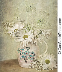 Queen Annes Lace - Daisies and Queen Annes Lace in vintage...
