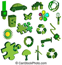 Set of 3d eco icons