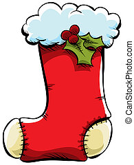 Christmas Stocking - A red, cartoon Christmas stocking