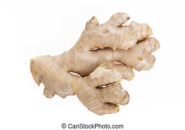 Isolated Ginger - Fresh ginger root isolated on a white...