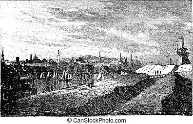 Baltimore, in Maryland, USA, during the 1890s, vintage engraving. Old engraved illustration of Baltimore showing harbor.
