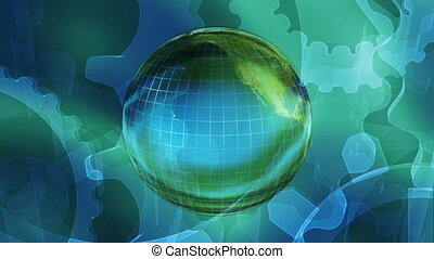Globe and Gears Looping Background - Globe and Gears Looping...