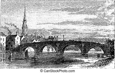 River Ayr Bridges. Old Bridge or Auld Brig over Ayr River,...