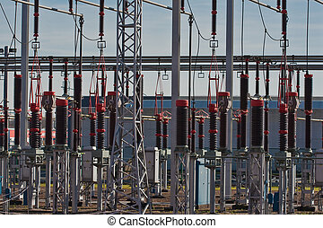 Transformers at power station - Battery of transformers at...