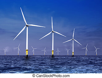 wind turbines on sea - white wind turbine generating...