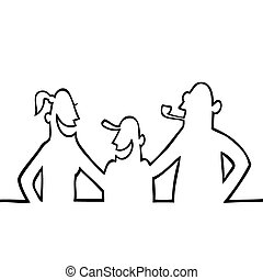 Happy family posing and laughing - Black line art...
